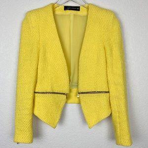 Zara Woman Yellow Tweed Crop Moto Blazer Jacket